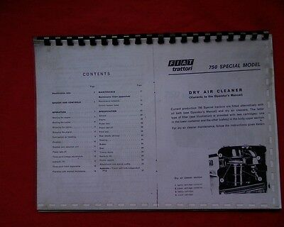 Fiat 750 special tractor Owners service, maintenance manual book, handbook