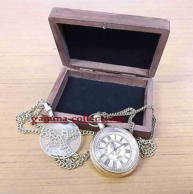 Brass Pocket Watch Magnifier Necklace With Wooden Box GAME OF THRONES gift item