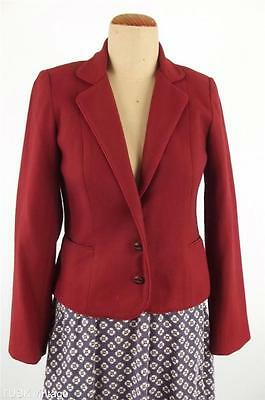 VINTAGE DEEP CHERRY RED woollen WOOL classic preppy blazer JACKET 6 8 XXS XS