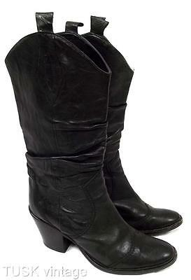 VINTAGE soft BUTTERY black LEATHER ITALIAN block heel rouched COWBOY BOOTS 37 38