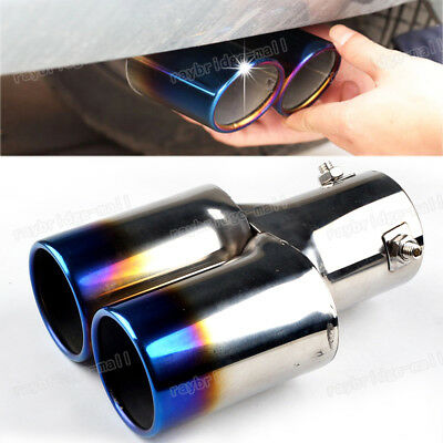 Universal 63mm Blue Stainless Steel Car Chrome Exhaust Tail Rear Muffler Pipe