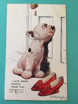 Vintage 1920s Bonzo Novelty Postcard GE Studdy I Hate Being Parted From You