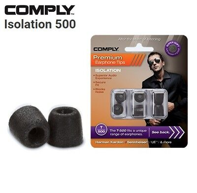 Comply Foam T-500 Isolation 3 Pairs In-Ear Earphone Tips Medium Black TS