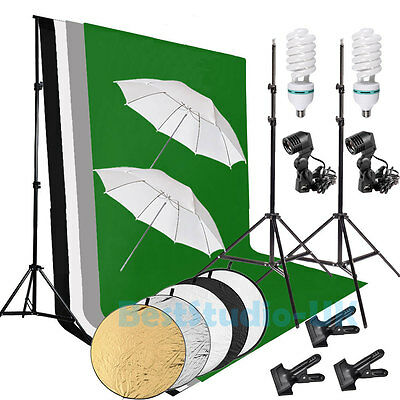 Pro Photography Photo Studio Umbrella Continuous Lighting Light Stand Kit Set UK