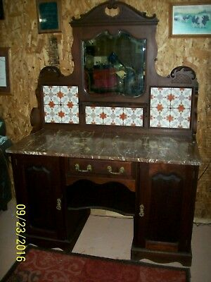 Antique English marble top wash stand