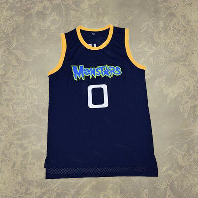 Space Jam Basketball Jersey Alien #0 Monstars Navy Sewn Stitched S-2XL