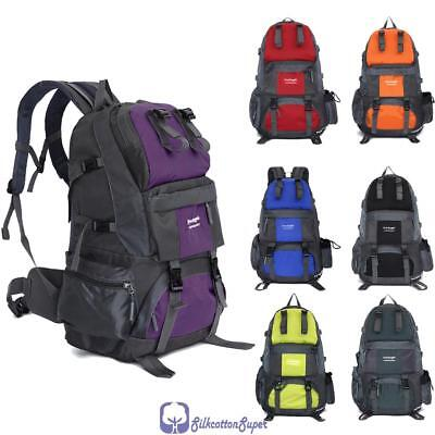 50L Waterproof Hiking Mountaineering Backpack Camping Rucksack Travel Large Bag