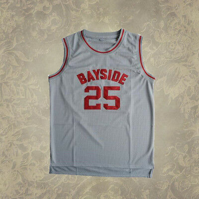 #25 Bayside Tigers The Bell Zack Morris Gray Stitched S-2XL Basketball Jersey