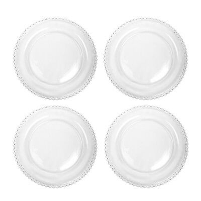 Set of 4 Bella Perle Beaded Edge Clear Glass Dinner Plates Glassware Crockery