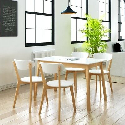 Five Piece Wooden Dining Set Table and Chairs MDF and Birch Wood Kitchen Home