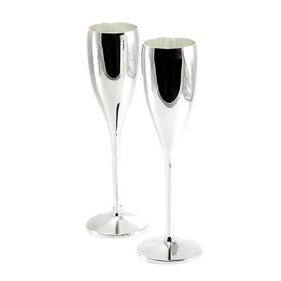 2 Champagne Glasses Flute Prosecco Silver Wedding Chalice Engraving