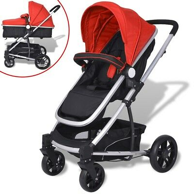 vidaXL 2-in-1 Baby Toddler Stroller Pram Pushchair Buggy Aluminium Red and Black