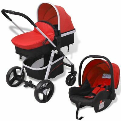 vidaXL 3-in-1 Pushchair Aluminium Red and Black Stroller Buggy Baby Child Kid