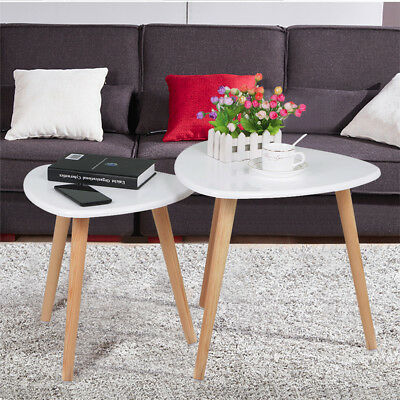 Set of 2 Nest of Tables Home Office Kitchen Stacking Side End Table Round White