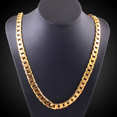 "Men Women Fashion Luxury 18""-30"" 6mm Chain Curb Cuban Link Gold Necklace Jewelry"