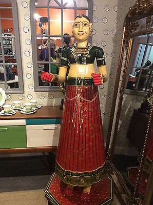 Fabulous Very Large Unusual Indian Wooden Polychrome Statue Parvati?Hindi Bride
