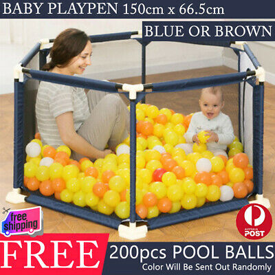 New Baby Kids Toddler Deluxe Playpen Divider Safety 6 Gate FREE 200pcs Pool Ball