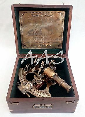 Vintage Brass Sextant Kelvin & Hughes London Maritime Nautical Ship Boat Sextant