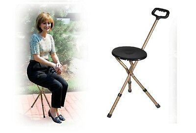 Walking Chair Folding Cane Seat Walking Stick with Stool Portable Lightweight