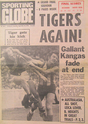 1974 Richmond Tigers Premiership: Melbourne 'Sporting Globe' Grand Final edition