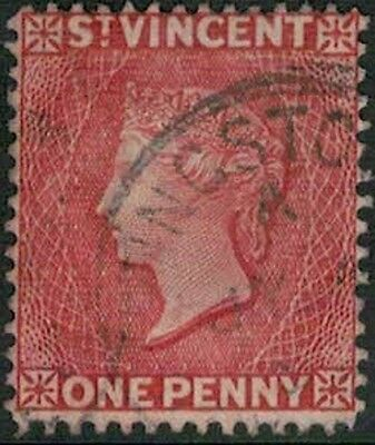 Lot 4259 - Saint Vincent -1861 1d red Queen Victoria used definitive stamp