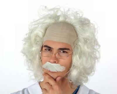 Einstein mad professor scientist fancy dress white wig moustache glasses set