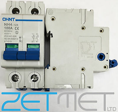 Chint NH4-125 100 AMP Double Pole Mains Switch Disconnector 400V Isolator