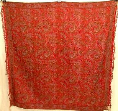 Beautiful Antique French Paisley Square Shawl