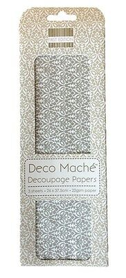 First Edition Deco Mache Decoupage Craft Paper Pack of 3 - Silver Regal Repeat