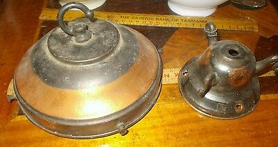 """old large 6"""" Brass / Copper Gallery & ceiling cover & 3 cast brass hooks,VGC."""