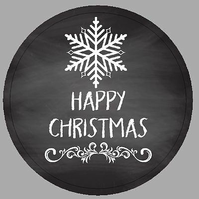 24 x 40mm Stickers Round Christmas Chalkboard Effect Snowflake Not Personalised
