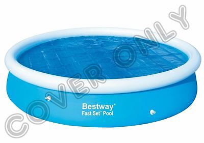 """BESTWAY 12' x 30""""12' ft Round Solar Swimming Paddling Cover Sheet Fast Set Pool"""