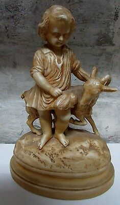 Antique Parian Ware Statue Boy With Goat