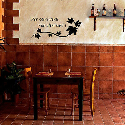 WALL STICKERS FRASE vino wine adesivo murale cucina enoteca happy ...