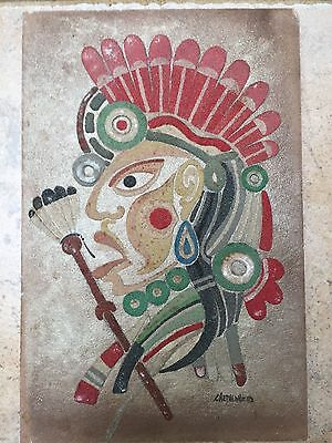"David Chethlahe Paladin Original  Painting On Sandstone 11.5"" X 7.5"""