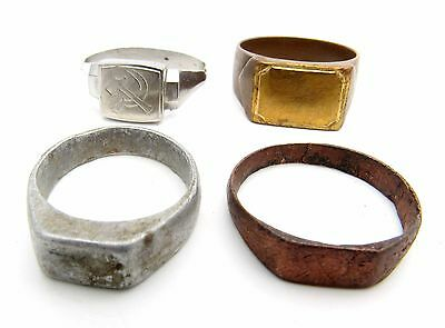 Lot Of 4 Communist Rings - Sickle & Hammer - Wearable Historic Artifacts - K729