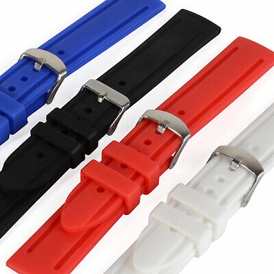New 4 Colors 20/22/24mm Silicon Wristwatch Band Strap for Sport Watch Men Unisex