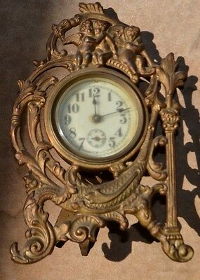 ANTIQUE Brass ORNATE metal front Mantle wind up Cherub Clock-PRE-1930-VICTORIAN