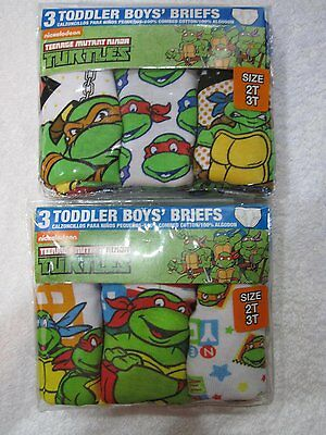 Nickelodeon Toddler Boy Underwear 2T-3T TMNT Briefs 2 Pks Of 3 NIP