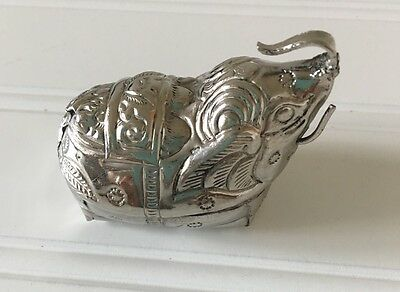 Cambodian Sterling Silver Elephant-Shaped Box Betel Nut Box