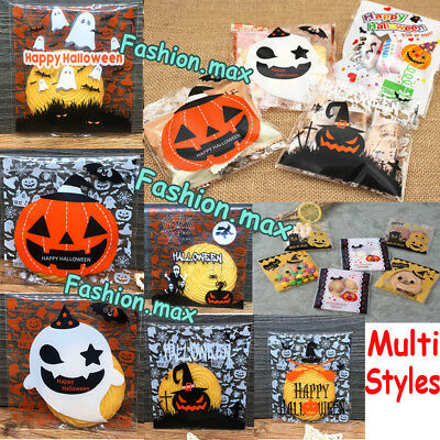 100x Halloween Cellophane Party Cookies Sweet Candy Biscuit Gift Treat Trick Bag