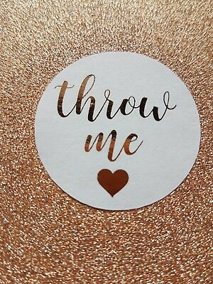 Throw Me Stickers Confetti Wedding Favour Rose Gold Foil Personalised Labels
