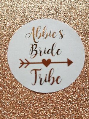 Bride tribe stickers bachelorette rose gold foil personalised labels hen party