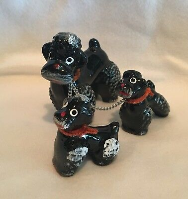 Vintage Retro Poodle Dog Family Set of 3 Made In Japan Ceramic w/ Chain Leash