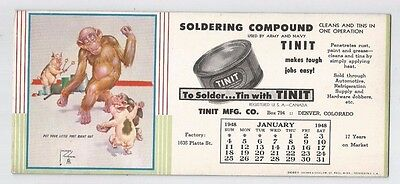 Vtg INK BLOTTER  TINIT SOLDERING COMPOUND  DENVER CO 1948 CALENDAR  monkey pigs