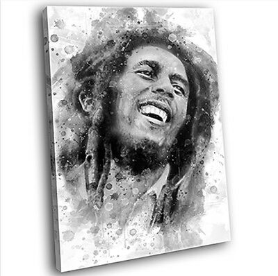 Bob Marley Abstract Canvas Print Framed Iconic Music Wall Art Picture (B&W)