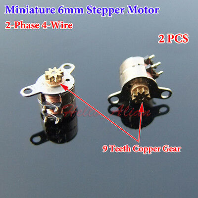 2PCS Miniature 6mm 2-Phase 4-Wire Stepper Motor 6*5mm Stepping Motor Copper Gear