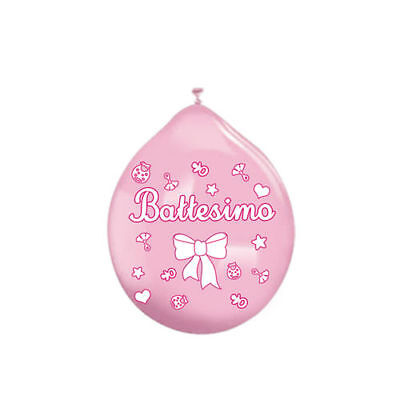 Palloncini in Lattice 10'' Medium Battesimo Rosa 20 pezzi