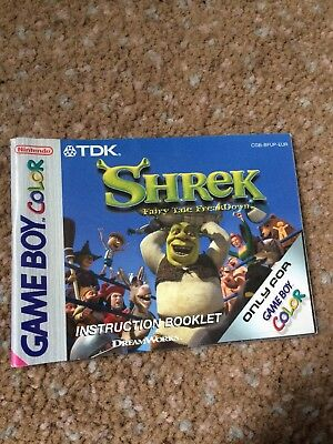 Gameboy Color Shrek Manual