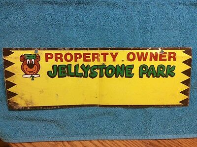 EXTREMELY RARE original  jellystone park property owner metal sign advertising